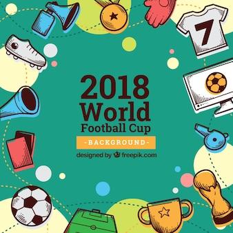 世界のサッカーカップの背景には、手描きのスタイルで要素