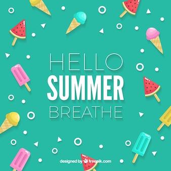 異なるアイスクリームの夏の背景