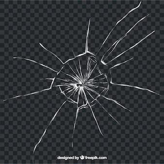 背景のない現実的なスタイルの破損したガラス