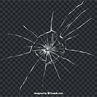 Сломанное стекло в реалистичном стиле без фона