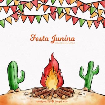 フェスタジュニアの背景と焚き火
