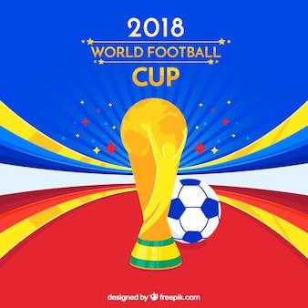 トロフィーと世界のサッカーカップの背景