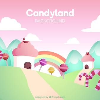 美味しいキャンディーランドの背景をフラットなスタイルで