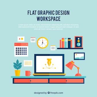 フラットグラフィックデザインワークスペース