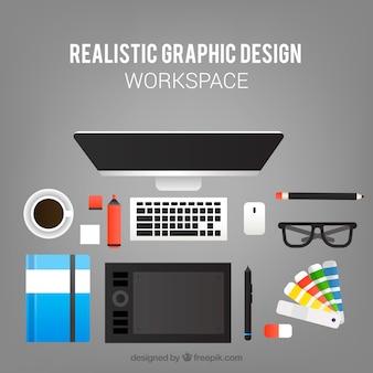 現実的なグラフィックデザインワークスペース