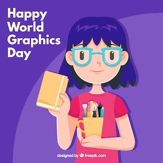 女の子と世界のグラフィックデイデザイン
