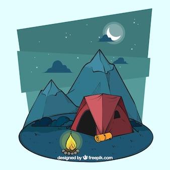 手描きの夏のキャンプの背景