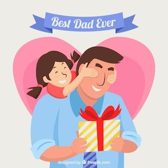 Отец день фон с дочерью охватывает папы глаза