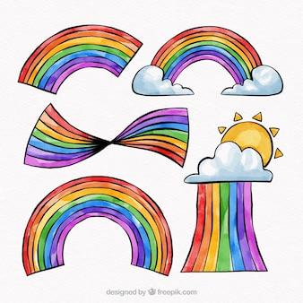 素敵な水彩の虹の組成