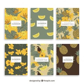 ヴィンテージスタイルの植生で夏のカードコレクション