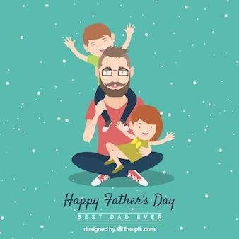 父親と子供たちと父の日の背景
