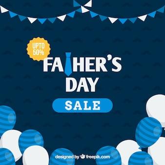 Шаблон для продажи дня отца с синими и белыми шарами