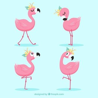 異なる姿勢のピンクフラミンゴのセット