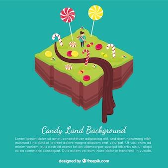 等尺性のキャンディー土地の背景