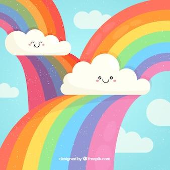 カラフルな虹の背景