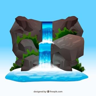 漫画スタイルの滝の背景