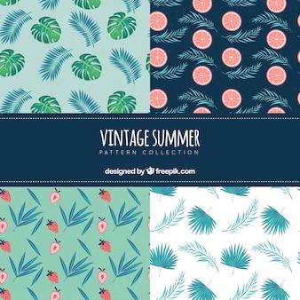 Набор летних узоров с элементами пляжа в винтажном стиле