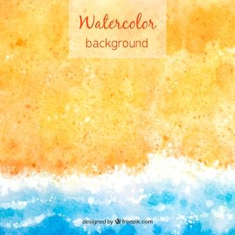 こんにちは、砂と水と水彩スタイルの夏の背景
