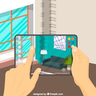 デバイスを備えた拡張現実背景