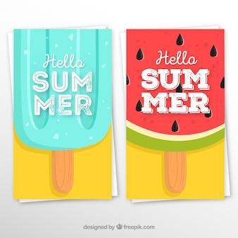 果物のアイスクリーム入りの夏のカードセット