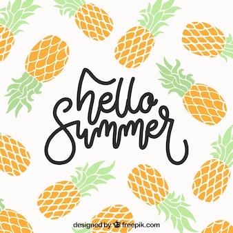 フラットスタイルのパイナップルを持つ夏の背景
