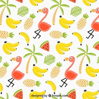 Тропический летний узор с фламинго и фруктами