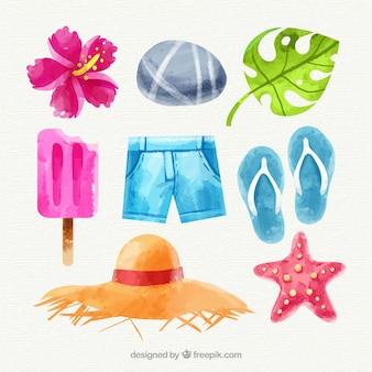Набор летних элементов в акварельном стиле