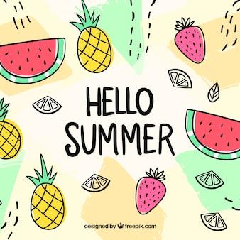 Привет, летний фон с разными фруктами