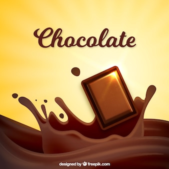 チョコレートの背景のおいしい部分