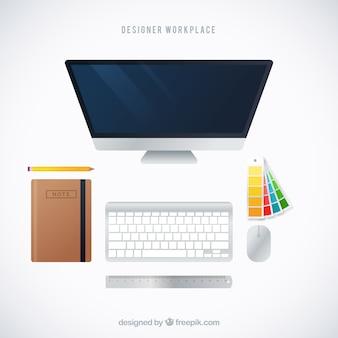 トップビューのグラフィックデザインの職場の背景