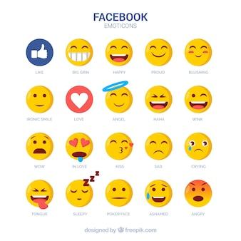 フラットスタイルのフェイスブック絵文字のセット