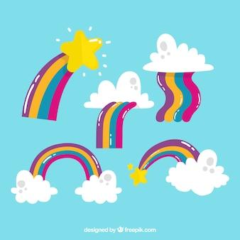フラットシルエットの異なる形の虹のコレクション