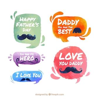 Набор значков дня отца в акварельном стиле