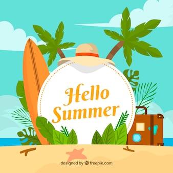 ハロー夏のビーチ要素を持つ背景