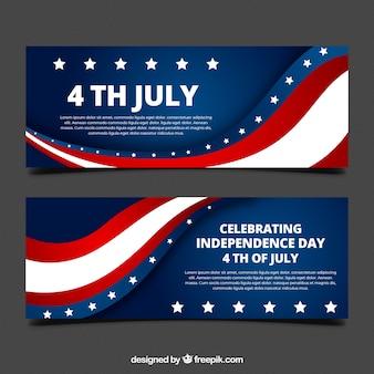平らなデザインのアメリカ独立バナー
