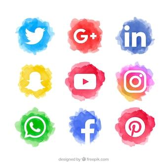 Коллекция логотипов социальных медиа в стиле акварели