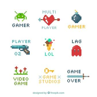 Коллекция логотипа видеоигр с плоским дизайном