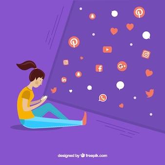 Плоский социальный медиа фон с персонажами