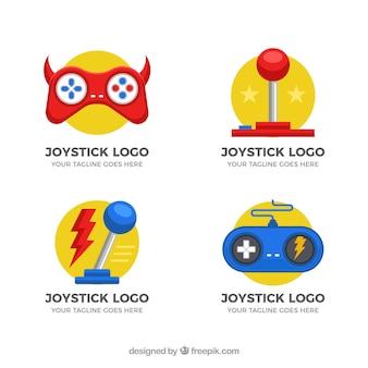 フラットデザインのジョイスティックロゴコレクション