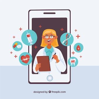 女性の医者、スマートフォン、アイコン