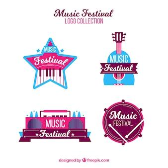 フラットデザインの音楽祭ロゴコレクション