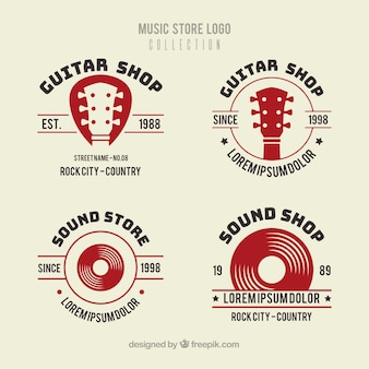 Коллекция логотипов магазина с плоским дизайном