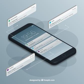 イスタンブールポストを持つ携帯電話の等角図