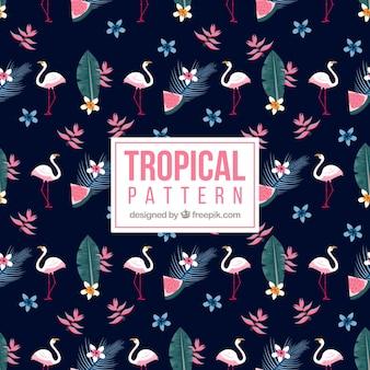 Тропический рисунок с фламинго и растениями