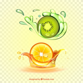Коллекция брызг сока с реалистичными фруктами