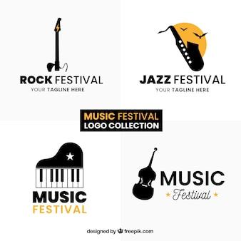 Коллекция логотипа музыкального фестиваля с плоским дизайном