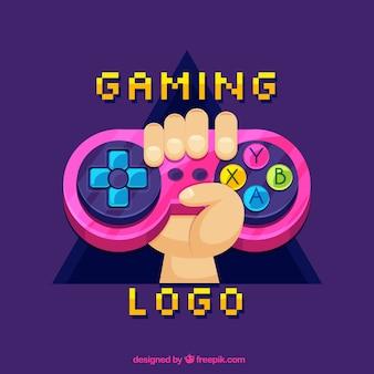 ジョイスティック付きビデオゲームのロゴテンプレート