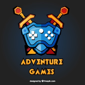 Шаблон логотипа приключенческой видеоигры