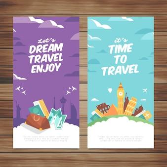 Туристические баннеры с плоским дизайном