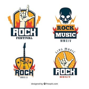 フラットデザインのロックロゴコレクション